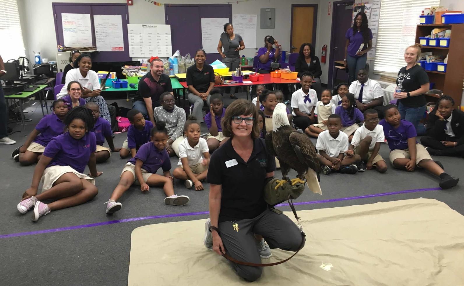 Shawnlei Breeding with bald eagle in classroom