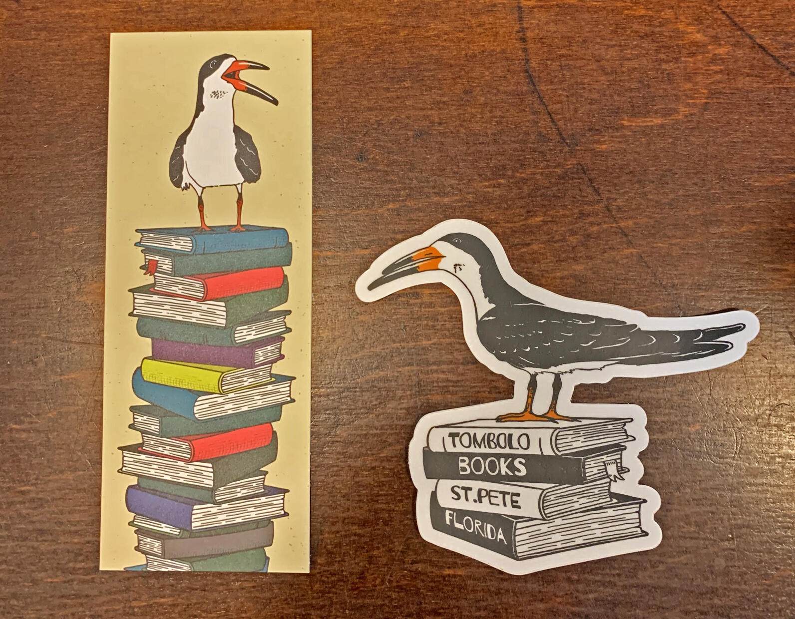 Skimmers on the Tombolo Bookstore stickers.