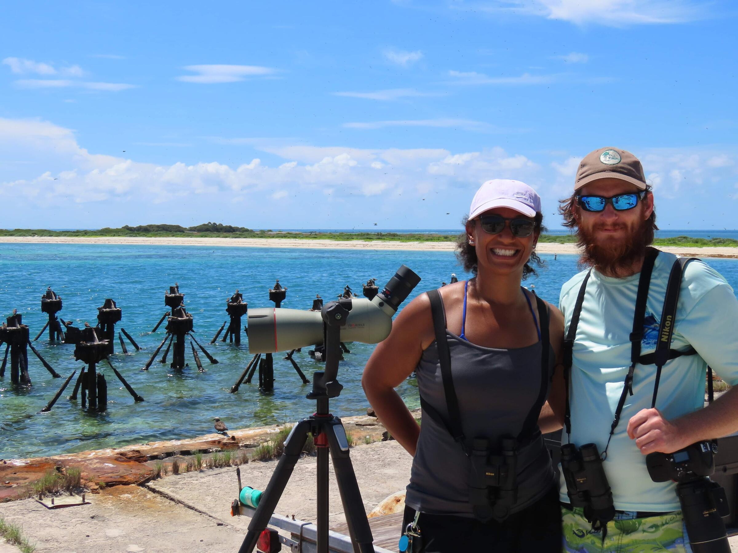 Natasza Fontaine and Robert Gundy birding in the Dry Tortugas.