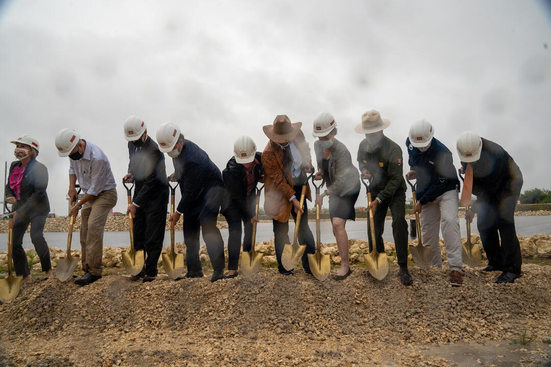 A ribbon-cutting ceremony marks the beginning of S-333N, a structure that will double the amount of water that can be moved south. Photo: SFWMD.