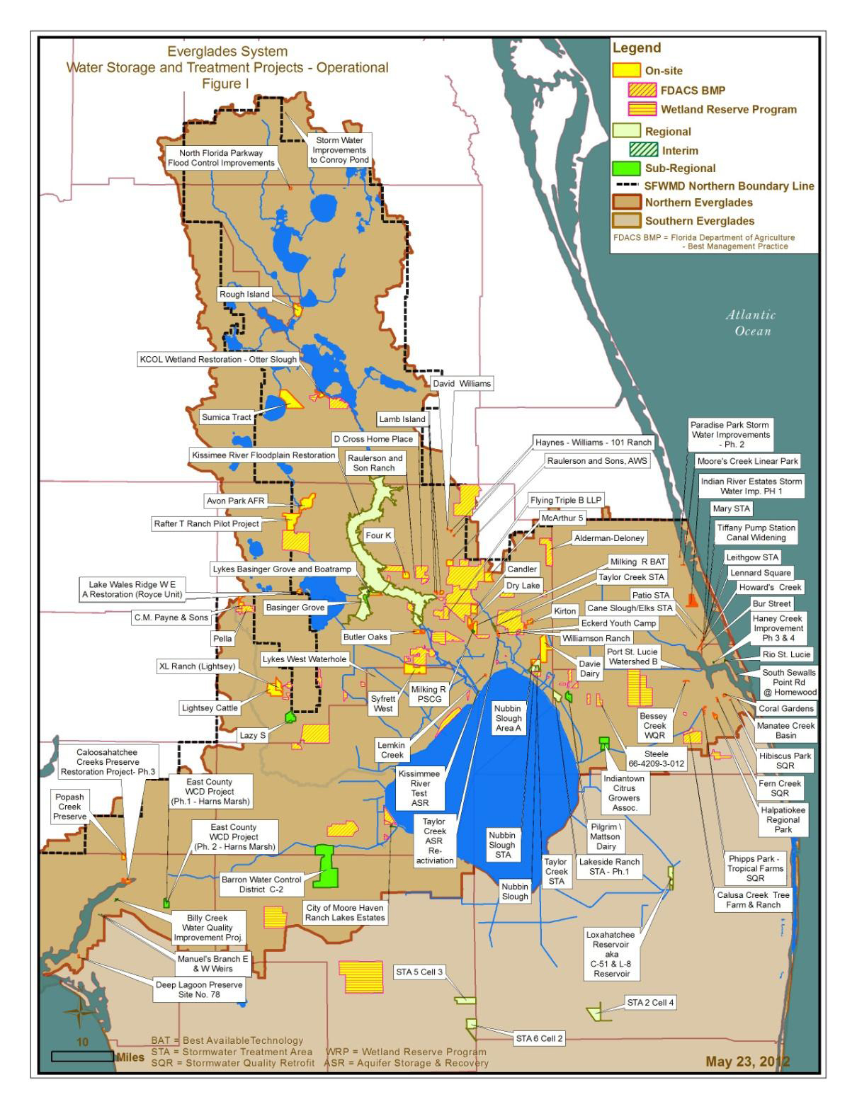 Northern Florida Map.South Florida Water Management District Dispersed Water Management